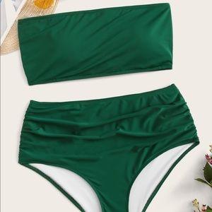 Emerald Green High Waist Tube Too Bikini